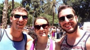 Jordanian Fulbrighter Alec Benton, Israeli Fulbrighter Eric Schuman, and I at Gay Pride